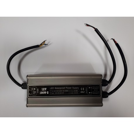 Power supply SUR-12100-E 12V IP67 100 Watts 2 Output avec AC PLUG